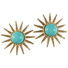 Phillipe Ferrandis Star Earrings with Turquoise Centers, 1990s