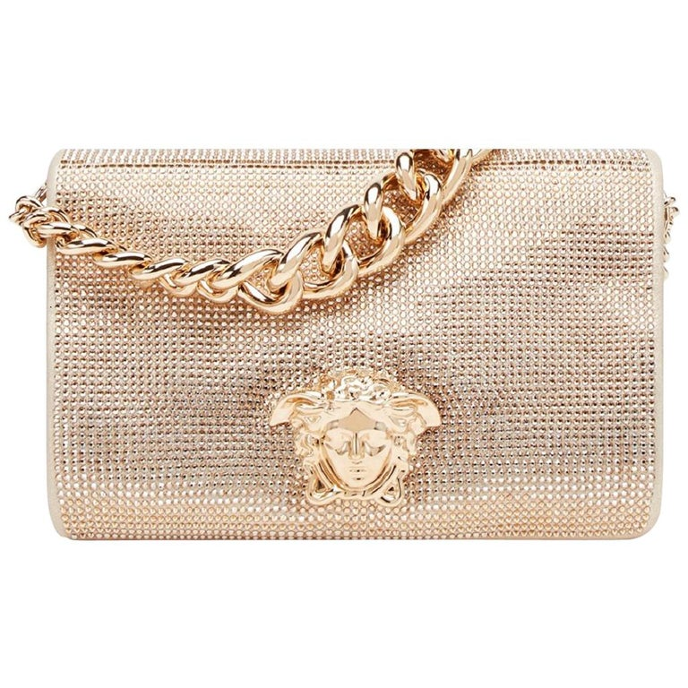 New Versace Gold Palazzo Sultan Medusa Swarovski Crystal Evening Shoulder  Bag For Sale at 1stdibs 83556d30663cb