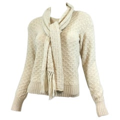 Chanel Alpaca-Blend Knit Sweater with Scarf