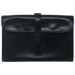 Hermes Black Jige Clutch
