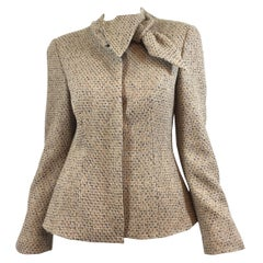 Alexander McQueen Metallic Tweed Jacket with Neck Tie