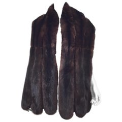 Brown Sable Fur Scalloped Edge Shawl