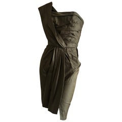Thierry Mugler Green Vintage 80's Forest Green Draped Cocktail Dress