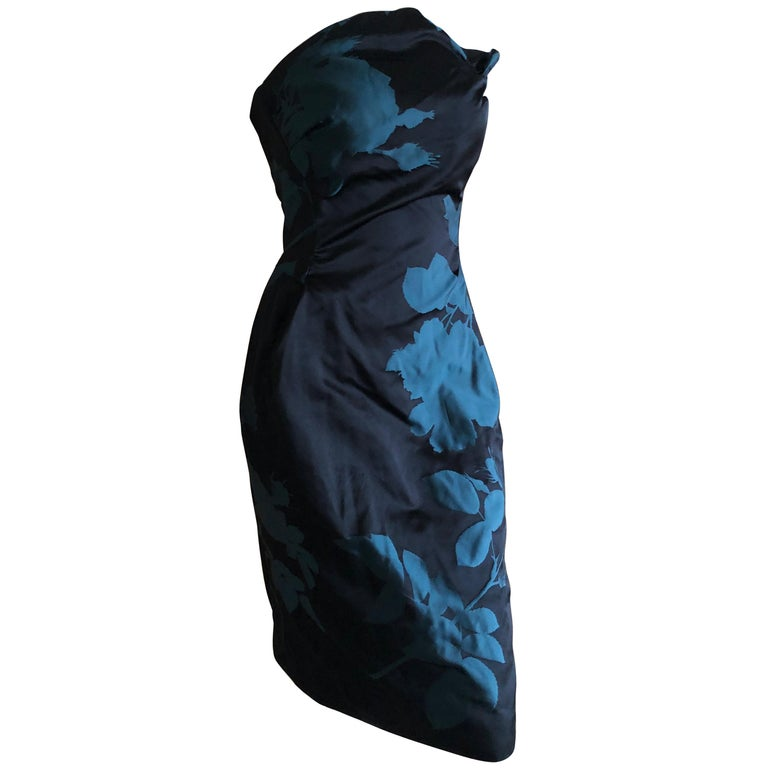 Vivienne Westwood Gold Label Midnight and Teal Blue Silk Floral Strapless Dress For Sale