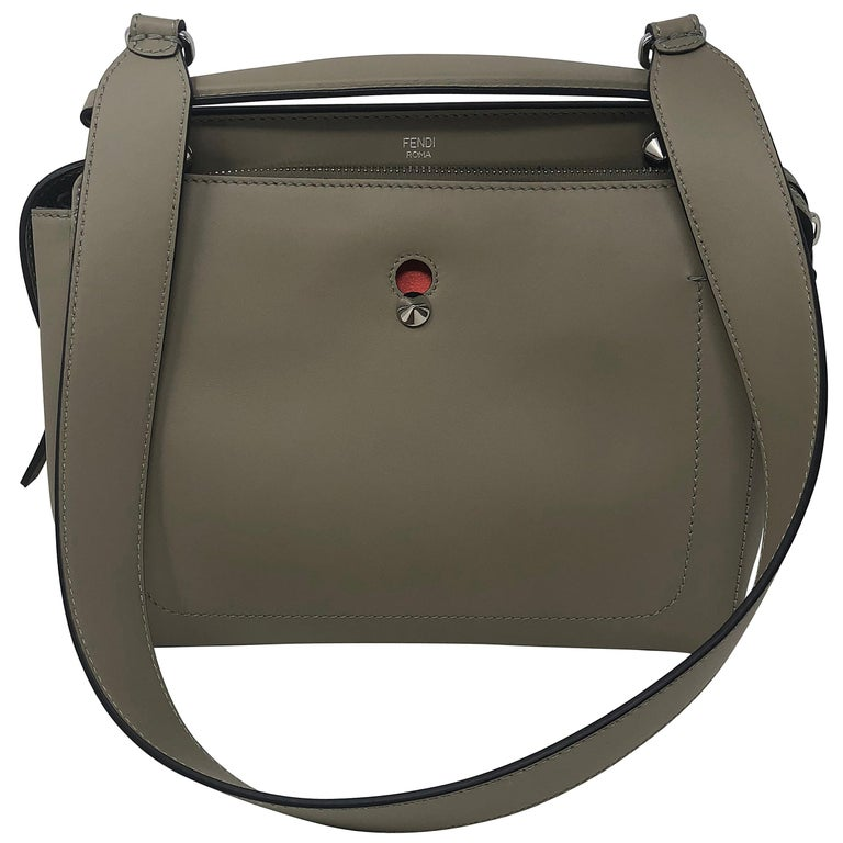 989edf0a30 Fendi Dotcom Leather Satchel Dove Gray For Sale at 1stdibs