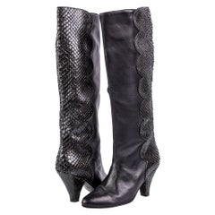 Vintage Maud Frizon Black Leather Snakeskin Heel Boots Size 5