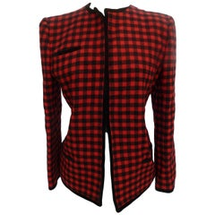 1980s Valentino Boutique Red Black Wool Check Jacket