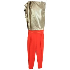 2000s Max Mara Viscose Cocktail Pants Suit Gold Red