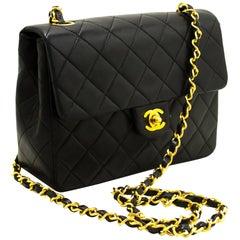 CHANEL Mini Square Small Chain Shoulder Crossbody Bag Black