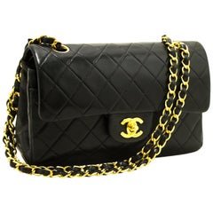 CHANEL 2.55 Double Flap Small Chain Shoulder Bag Black Quilted