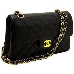 CHANEL 2.55 Double Flap Small Chain Shoulder Bag Lambskin Black