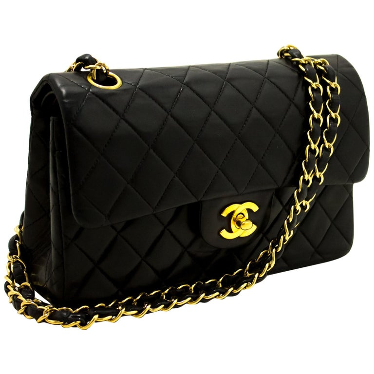 10fa17752b5b CHANEL 2.55 Double Flap Small Chain Shoulder Bag Lambskin Black For Sale.  An authentic CHANEL 2.55 Classic ...
