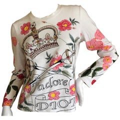 Christian Dior by John Galliano Long Sleeve Embellished Crown Scepter Cotton Top