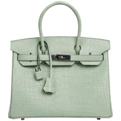 Hermes Birkin 30 Bag Vert D'eau Matte Alligator Palladium Hardware