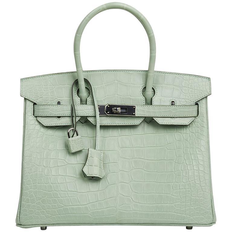 Hermes Birkin 30 Bag Vert D'eau Matte Alligator Palladium Hardware For Sale