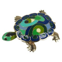 1980's Eisenberg Enameled Turtle Brooch / Pendant New, Never worn