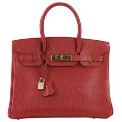 Hermes Birkin Handbag Rouge Vif Ardennes with Gold Hardware 30