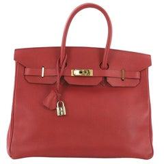 Hermes Birkin Handbag Rouge Vif Ardennes with Palladium Hardware 35