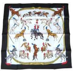 Hermes Silk Scarf EN PISTE Horses Robert Dallet 1990s New, Never Worn