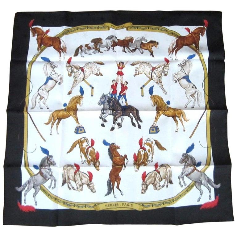 Hermes Silk Scarf EN PISTE Horses Robert Dallet 1990s New, Never Worn  For Sale