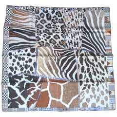 """Hermes Silk New, Never Worn Scarf """"Pelages Et Camouflages"""" with box"""