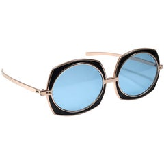 Vintage Renauld Rose Gold Oversized Frame Blue Lens 1980 Sunglasses Made in USA
