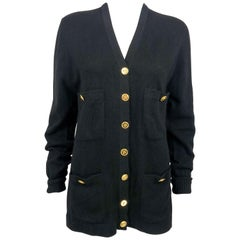 1990's Chanel Black Cashmere Cardigan With Gilt Buttons