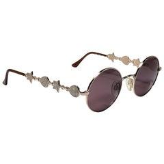Vintage Yves Saint Laurent 6024 Round Gold 1980's Paris Sunglasses