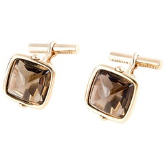 HERMES amber Quartz & 18k Yellow Gold SQAURE Cuff Links