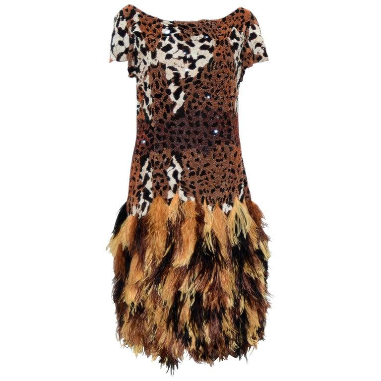 Naeem Khan Leopard Sequin Print Top Dress W/ Ostrich Feathers Skirt 2014 Dress For Sale