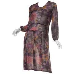 1920s Art Deco Polka Dot Floral Rayon Georgette Dress