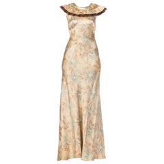 1930s Bias Cut Floral Satin Gown With Silk Ruffles