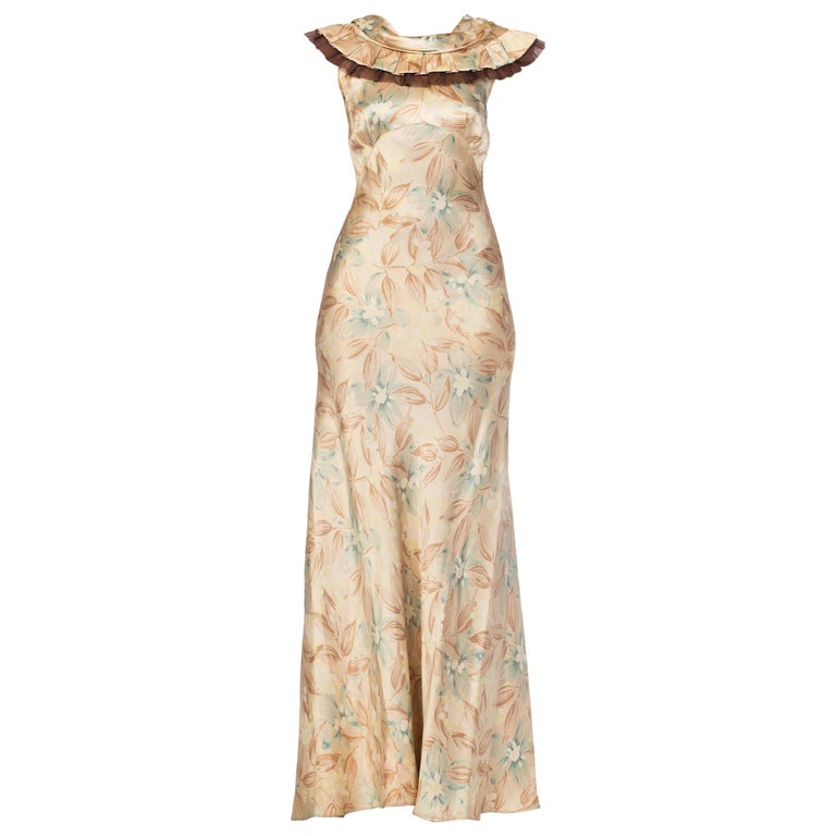 1930s Bias Cut Floral Satin Gown With Silk Ruffles  For Sale