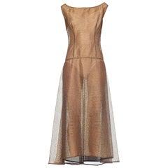 1990s Fernando Garcia Sheer Golden Net Dress