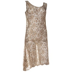 1920s Art Deco Gold Metal Lamé Lace Dress