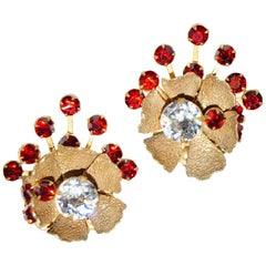1950s Miriam Haskell Red Rhinestone Sunburst Floral Earrings