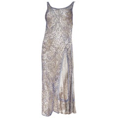 1920s Blue Beaded Silver Lamé Dress With Chinese Dragons