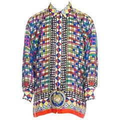 1990s Gianni Versace Mens Geometric Silk Shirt