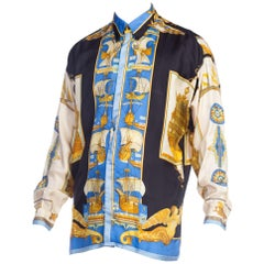1990s Atelier Versace 18th Century Ships Nautical Print Silk Shirt