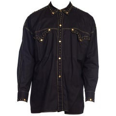 1990S GIANNI VERSACE Men's Shirt With Gold Medusa Studs & Metallic Embroidery