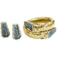 1970s Whiting & Davis Egyptian Revival Pharaoh Bracelet and Earrings