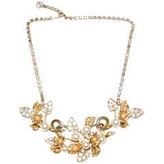 1960s Hattie Carnegie Floral Gold Tone Rhinestone Entremble Necklace