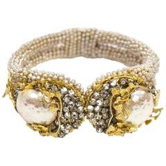 1950s Miriam Haskell Baroque Pearl & Rhinestone Floral Cuff Bracelet