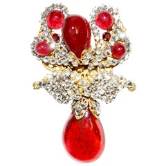 1960s Miriam Haskell Ruby Pate de Verre and Rose Monte Drop Brooch