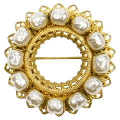 1950s Miriam Haskell Faux Baroque Pearl Filigree Wreath Brooch