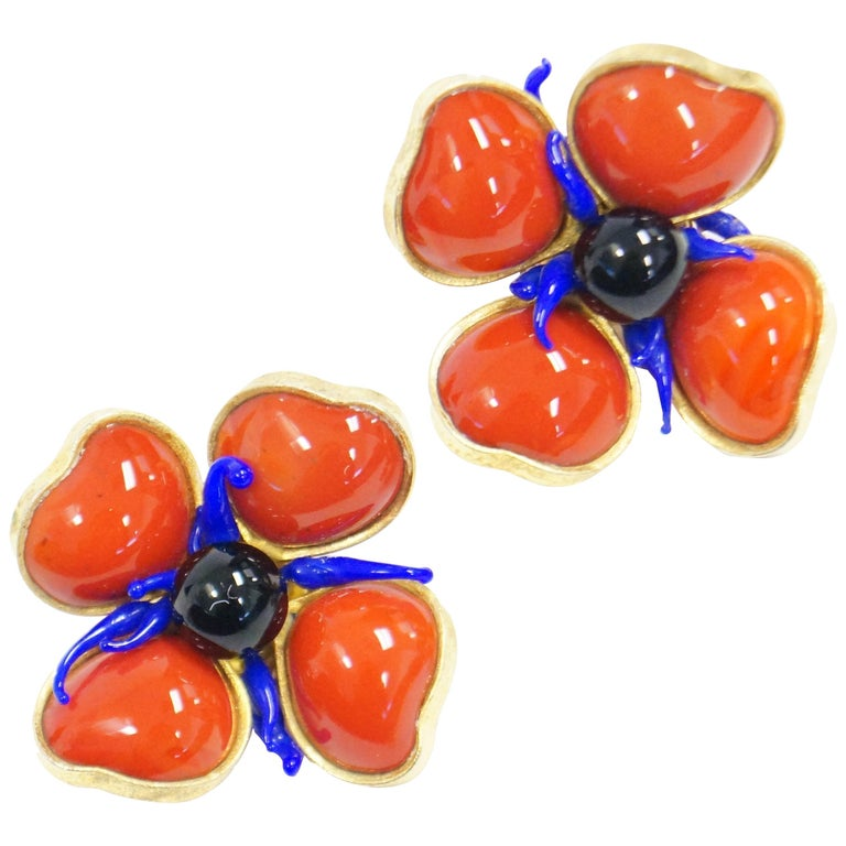 1970s Maison Gripoix for Jean Patou Poppy Red Earrings 1