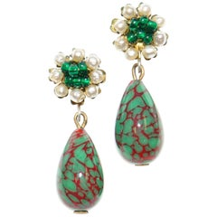 1950s Miriam Haskell Green and Red Poured Glass and Pearl Drop Earrings