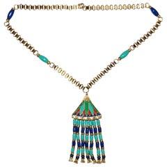 1960s Hattie Carnegie Egyptian Revival Enamel Lotus Necklace