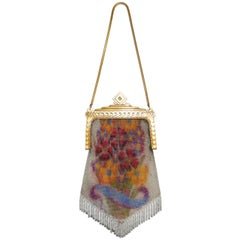 1920s Whiting & Davis Floral Enamel Dresden Mesh Evening Bag with Deco Clasp