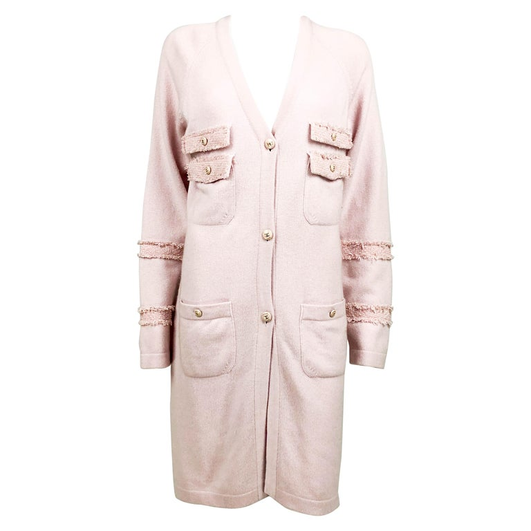 2009 Chanel Pink Cashmere Cardigan Dress With Enamelled Logo Buttons For Sale